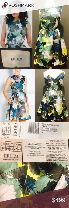 """💕NWT ERDEM👗Printed Kenya Duchesse-Satin Dress 💕 💕SOLD OUT NWT Stunning Erdem 'Kenya' Sleeveless Dress. 👗Beautifully feminine! Paid $1415. Green&multicolor floral print duchesse-satin, dual slit pockets@hips, crew neck&concealed hook&zip closure@back. Fitnflare style, super flattering&elegant. 100% polyester; fully lined-100% silk. Fits true2size; fitted@bust&waist, loose@hip. Mid-weight, non-stretchy fabric. Made in Portugal; sooo well made. US10. Measures; L (shoulder to hem): 36.5""""…"""