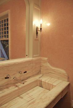 Kathryn Scott Design Studio  custom marble sink in Rosa Portugallo