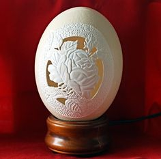 Carved and Sculpted Ostrich Egg Rose by 1eggman on Etsy