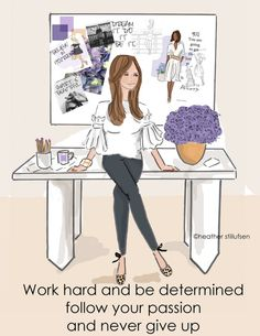 Wall Art for Women Work Hard and Be by RoseHillDesignStudio