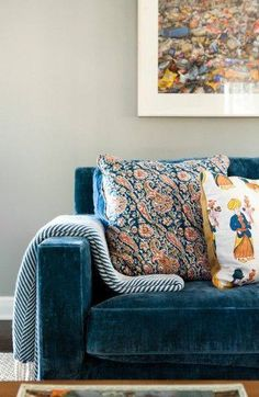 Glamourous Prussian Blue Velvet Sofa Softened With Folky Indian Block Print  Cushions In Warm Terracotta And Sunshine Yellow. I Think Upholstered Chairs  In ...