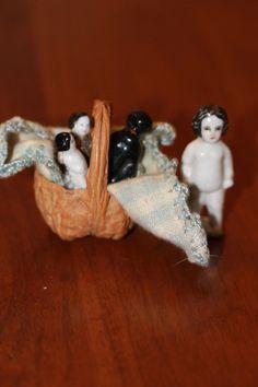 4 1860s Frozen Charlottes w/Walnut Basket and Blanket  Antique China Dolls