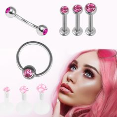 Pink Glow in the Dark Spike Spiral Cartilage Earring-16g-3//8-Tragus Hoop Earring Piercing Jewelry