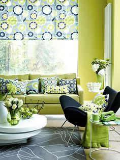 Gorgeous Modern Living Room in Green and Blues