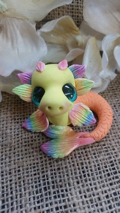 Polymer clay hand made dinky dragons art