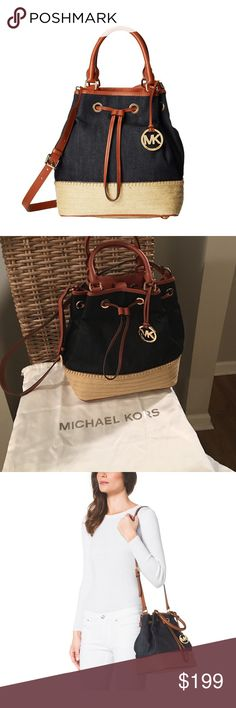 "🆕NWT🆕 MICHAEL Michael Kors ""Marina"" bag MICHAEL Michael Kors canvas shoulder bag. Contrast leather trim; golden hardware. Rolled top handles with rings; hanging circle logo charm. Adjustable shoulder strap. Espadrille-inspired trim at base. Drawstring gathers top. ""Marina"" is imported MICHAEL Michael Kors Bags"