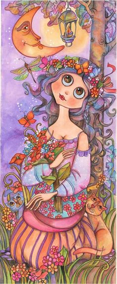 Girl With Flowers ~ by Peonia