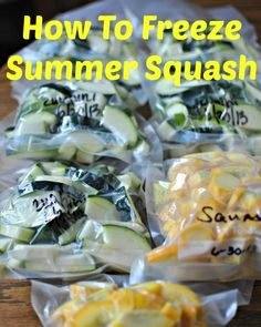 how to freeze summer squash.what to do with all that summer squash that you have in the garden. (How To Bake Squash) Freezing Vegetables, Fruits And Veggies, Freezing Squash, Can You Freeze Squash, How To Freeze Zucchini, Frozen Vegetables, Freezer Cooking, Freezer Meals, Veggie Recipes