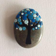 Dot Art Painted Tree Stone Blue Decoration by CreateAndCherish