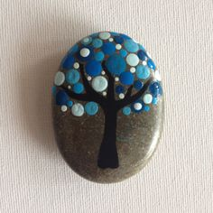 Dot Art Painted Tree Stone Blue Decoration by CreateAndCherish