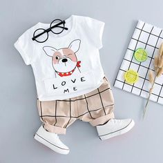 Summer Cotton Cartoon Dog Baby Boys T Shirt & Shorts Clothing Set Blu Bambina Baby Boys, Baby Boy T Shirt, Baby Boy Romper, Baby Boy Shoes, Baby Boy Outfits, Kids Outfits, Dog Baby, Toddler Boys, Baby Boy Clothing Sets