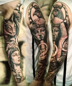 Egyptian sleeve Tattoo Tattoo Designs And Meanings, Tattoo Designs Men, Tattoo Sleeve Designs, Sleeve Tattoos, Egyptian Tattoo Sleeve, Egypt Tattoo, Mythology Tattoos, Body Art Tattoos, Cool Tattoos