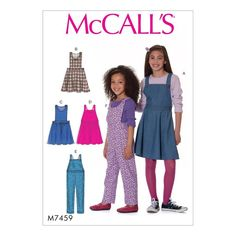 McCALL'S SEWING PATTERN CHILDREN'S /GIRLS' JUMPERS & OVERALLS SIZE 3 - 14 M7459 | eBay