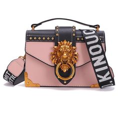 931d36a2a6ed4 Fashion Metal Lion Head Mini Small Square Pack Shoulder Bag Crossbody  Package Clutch Women Designer Wallet