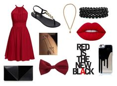 """""""Red is the New Black"""" by kitkat-fashion243 ❤ liked on Polyvore featuring IPANEMA, UN United Nude, New Look, Chanel, Bling Jewelry and Lime Crime"""
