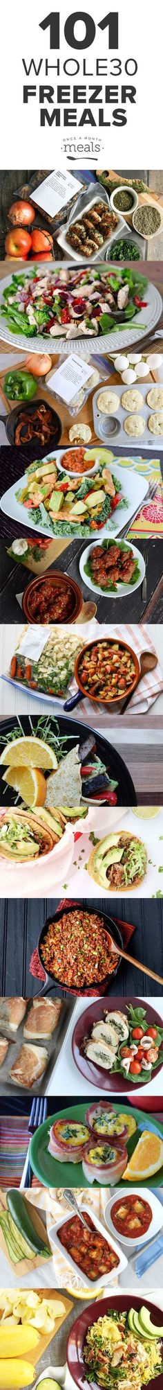 Don't get caught wondering what to eat! We have 101 recipes in a wide variety of flavors that can be cooked and frozen ahead of time so you finish your Whole30. via @onceamonthmeals