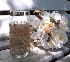 Set of 10 Rustic Glass, Burlap and Sisal Hand Decorated Flower Vases. Rustic, Vintage, Cottage Chic, Beach theme Wedding Ideas