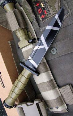 Extrema Ratio Knives 128MK2DW MK2.1 Desert Warfare Fixed Blade Knife with Grooved Desert Tan Nylon Handles