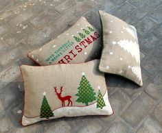 Items similar to Christmas linen pillow cover, christmas trees, reindeer, Indian brocade applique, embroidered pillow size on Etsy Christmas Cushion Covers, Christmas Cushions, Christmas Themes, Christmas Crafts, Christmas Decorations, Christmas Holiday, Applique Cushions, Chair Pads, Linen Pillows