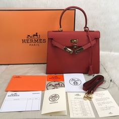 68a1ec0ca455 HERMES KELLY BAG 100% GENUINE LEATHER RED, Luxury, Bags & Wallets on  Carousell