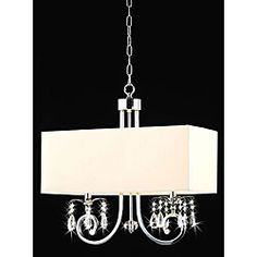 @Overstock - Finished in chrome with a light beige shade, this crystal chandelier can add a touch of contemporary elegance to your decor. This lighting fixture also includes a 40-inch chain crafted of iron.http://www.overstock.com/Home-Garden/2-light-Chrome-Crystal-Chandelier/5073012/product.html?CID=214117 $117.99