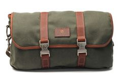 Saddle Bag made from waxed canvas and leather trim