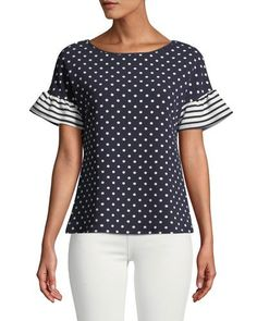 Shop Striped-Flutter Sleeve Polka-Dot Blouse from Casual Couture at Neiman Marcus Last Call, where you'll save as much as on designer fashions. Casual Couture, Polka Dot Blouse, Polka Dots, Clothes Crafts, Dressy Tops, Casual Street Style, Fashion Over 50, Classic Outfits, Urban Fashion