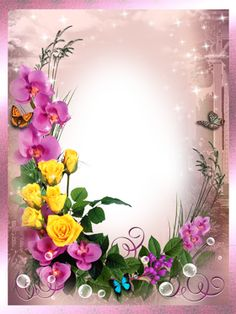 Frames for photoshop - In the world of flowers Flower Picture Frames, Flower Frame Png, Picture Frame Decor, Frame Border Design, Photo Frame Design, Birthday Photo Frame, Birthday Frames, Flower Background Wallpaper, Flower Backgrounds