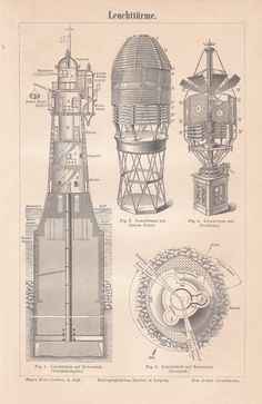 1888 The Lighthouse of Rotersand - Cross Section Sketch, Technical Structure, Beacon Light Original Antique German Engraving Lighthouse Pictures, Lighthouse Art, Beacon Lighting, Building Sketch, Historical Architecture, Architecture Drawings, Wood Engraving, Antique Prints, Nautical