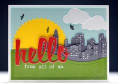Hello From All of Us - Scrapbook.com - Layer die cuts and stamping for a perfectly pieced card.