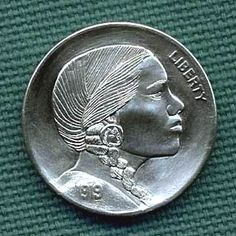 Cliff Kraft - Minnie Sowtah Indian Theme, Hobo Nickel, Coin Art, Old Coins, Cliff, Art Forms, Sculpture Art, Buffalo, Cactus
