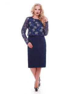 Коктейльное платье большого размера, выполненное из креп-дайвинга. Верх платья дополнен накидкой из гипюра. Застегивается платье сзади. Рост модели на фото 174 см, разм 52