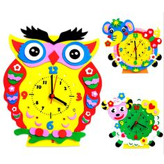 1Set Handmade Clock Toy DIY 3D Animal Learning Clock Kids Crafts Educational Handwork Toy Creative Ability Training