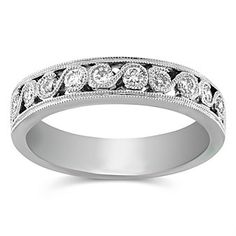 14K White Gold Round Diamond Band, 0.35 cttw  2ABDD1448 | Borsheims Fine Jewelry & Gifts 800-642-GIFT