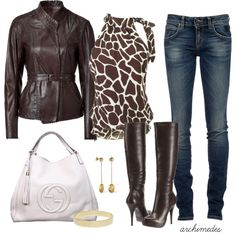 Giraffe Print,love this whole outfit!!  created by archimedes16 on Polyvore