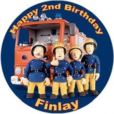 Fireman Sam Edible Cake Image Circle Fireman Sam, Happy 2nd Birthday, Cake Images, Edible Cake, Party Cakes, Cake Ideas, Fictional Characters, Firemen, Pies