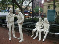 George Segal's Gay Liberation sculpture; Christopher Park, Greenwich Village (site of the Christopher Street Riots of 1969)