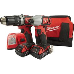 The Milwaukee™ M18 cordless 2-tool combo kit, Model# 2691-22, includes the Compact Driver (2606-20) and the 1/4in. Hex Impact Driver (2656-20). Powered by Li-Ion batteries, the M18 Series' revolutionary redesign of Lithium-Ion battery technology allows Milwaukee tools to deliver more power with faster speeds and longer tool run times, and are lighter and more compact, which eliminates user fatigue and improves overall work.