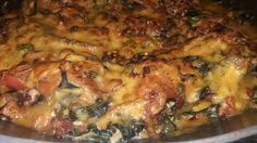 Smothered Chicken in Creamed Spinach with Bacon, Cheese and Mushrooms – Absolutely divine! This is Top Restaurant Quality! - Enjoy! WinningRecipesBlog Smothered Chicken, Creamed Spinach, Top Restaurants, Chicken Recipes, I Am Awesome, Bacon, Stuffed Mushrooms, Pork, Cheese
