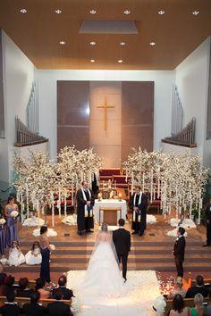 Armenian Church Ceremony with Tree Décor    Photography: Jay Lawrence Goldman Photography   Read More:  http://www.insideweddings.com/weddings/elegant-white-lavender-ballroom-wedding-with-cherry-blossom-trees/710/