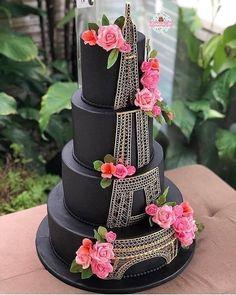 ♥️♥️♥️ Cake design by . Paris Birthday Cakes, Paris Themed Cakes, Paris Cakes, Birthday Cake Girls, 38th Birthday, Beautiful Wedding Cakes, Beautiful Cakes, Amazing Cakes, Bolo Paris