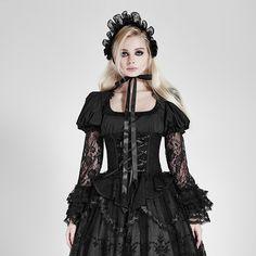 2017 New Spring Women Black Shirt Vintage Victorian Lace Lolita Shirts Ladies Gothic Punk Flare Sleeve Women T-Shirts