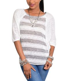 Take a look at the White & Gray Stripe Sweater on #zulily today!