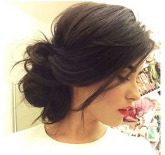 hair hair updos 20 Quick & Easy Updos For Your Up Dos For Medium Hair, Medium Hair Styles, Short Hair Styles, Hair Medium, Medium Hair Wedding Styles, Bun Styles, Side Bun Hairstyles, Pretty Hairstyles, Hairstyle Ideas