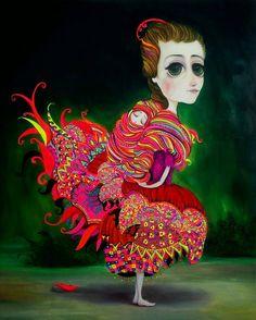Joan Alfaro es una de las artistas modernas más importantes en Perú. Su mundo de ensueño, un surrealismo andeano capturado entre líneas onduladas con colores poderosos que reflejan la sensación y