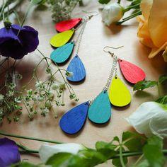 Weecos x Helsinki Pride: Rainbow-earrings Marriage Law, Sustainable Gifts, Laser Cut Wood, Flower Dresses, Finland, Equality, Rainbow, Drop Earrings, Gift Ideas