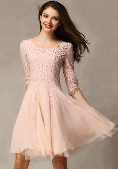 Pink Patchwork Ruffle 3/4 Sleeve Knee Length Lace Dress