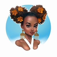 Art by Rinat Sait 🎨 Art Black Love, Black Girl Art, My Black Is Beautiful, Black Girls Rock, Art Girl, Natural Hair Art, Natural Hair Styles, Art Afro Au Naturel, Art Beauté