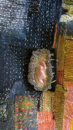 The Common Thread — Gordana Brelih, detail Sashiko Embroidery, Beaded Embroidery, Embroidery Stitches, Boro Stitching, Hand Stitching, Art Du Fil, Textile Fiber Art, Thread Art, Kintsugi