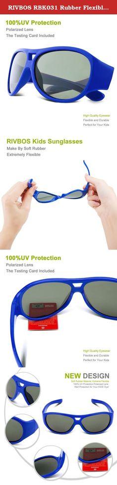 0081af4900a RIVBOS RBK031 Rubber Flexible Kids Polarized Sunglasses Glasses Age 3-10  (Blue).